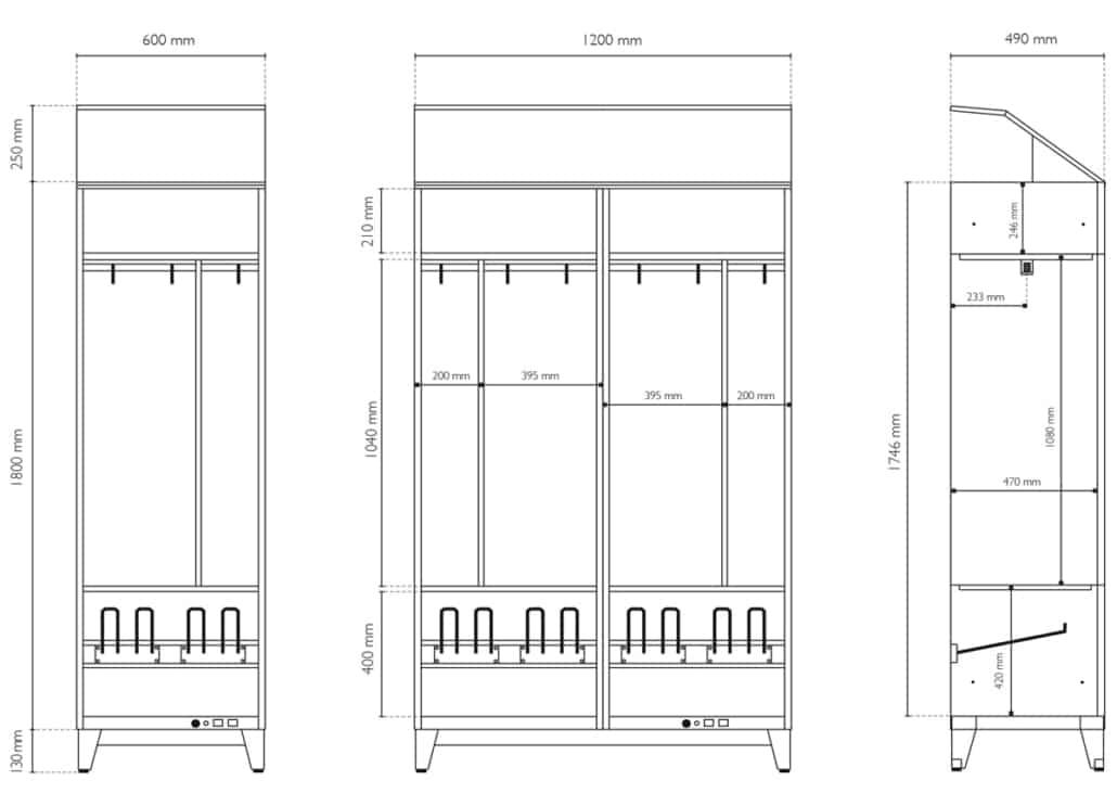 Plan de dimensions Intérieure et Extérieur du vestiaire chauffant LVS-PERFORMANCE