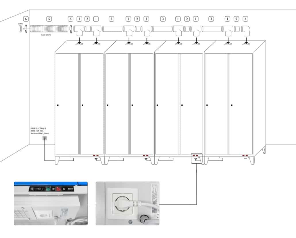 Plan d'assemblage des tubes PVC et de raccordement électrique du vestiaire LVS-OPTIM