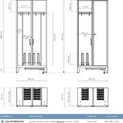 Toutes les dimensions utiles du vestiaires chauffant LVS-OPTIM Version industrie Propre et Industrie Salissante