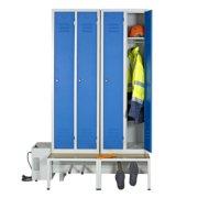 Module de 2 vestiaires ventilé industrie propre avec socle banc